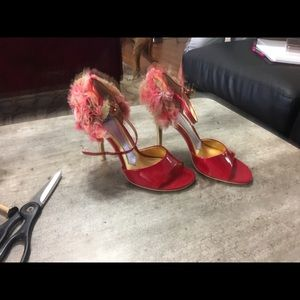 HaleBob red and gold high heels